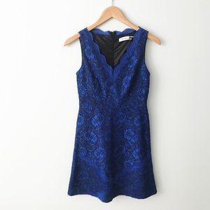 CALVIN KLEIN Blue Lace V-neck A-line Dress Petite